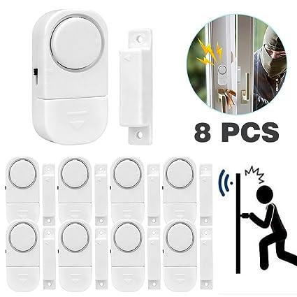 Senweit Pack of 8 Magnetic Door and Window Security Entry Alarm System  WirelessMini Alarms Burglar Intruder Entry Warning Sensors White (Battery