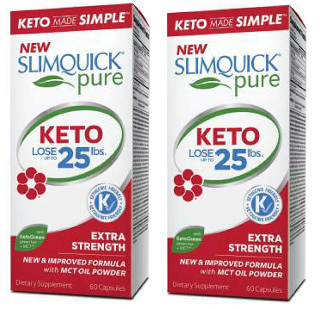 Slimquick Pure Keto Extra Strength Caplets, powerful dietary supplement, 60 count, Lose 3x the weight (Packaging May Vary)(Pack of 2)