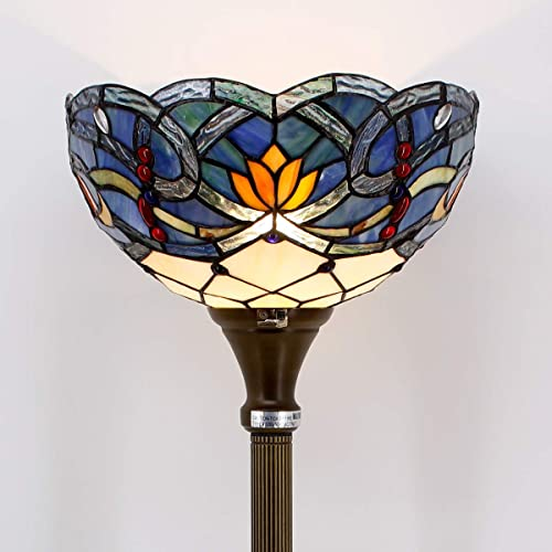 Tiffany Floor Lamp Torchiere Up Lighting W12H66 Blue Stained Glass Lotus Lampshade Antique Style Standing Iron Base 1E26 Foot Switch S220 WERFACTORY Lamps Living Room Bedroom Home Office Decoration