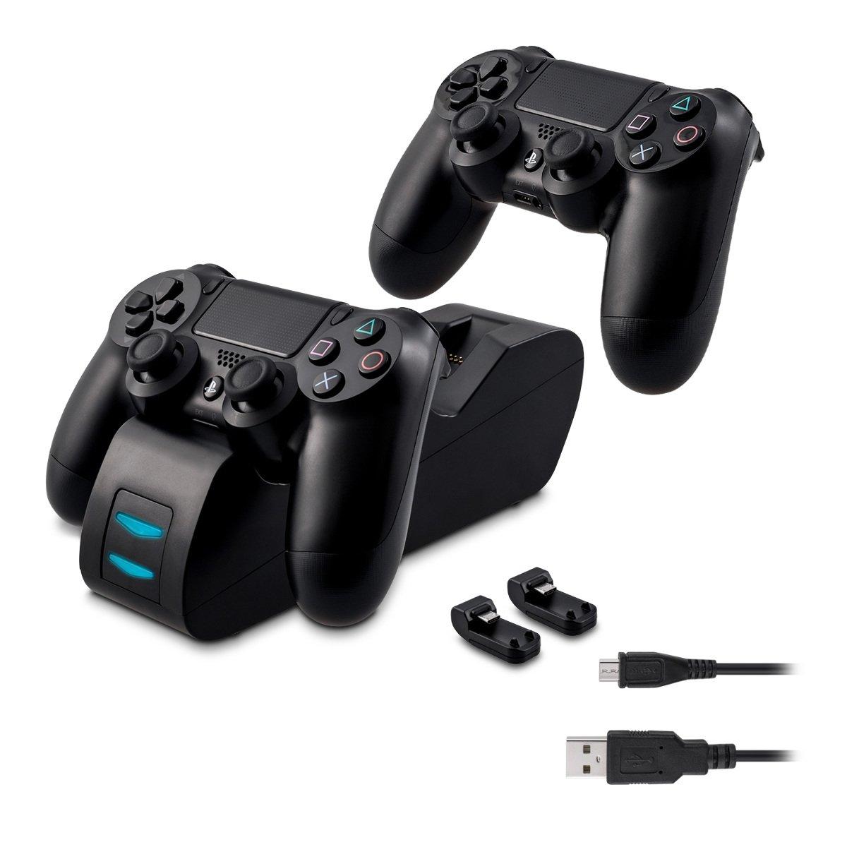 kwmobile Estació n de Carga rá pida Playstation 4 - Cargador Doble Mando PS4 - Base para Controles DualShock de Sony Playstation 4 con indicador LED KW-Commerce 34336_m000224