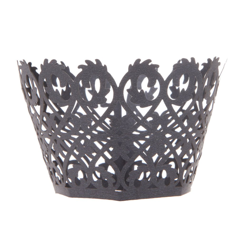 Sorive ® Pack of 120 Black Vine Filigree Laser Cut Lace Cupcake Wrapper Wraps Liner Pearlescent Cupcake Muffin Wrappers Cake Decoration Cake Cases SRI1885