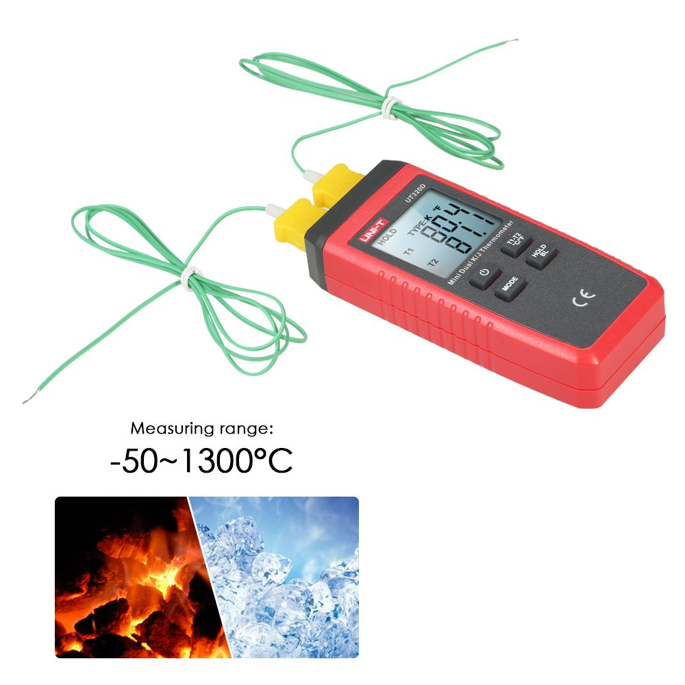 UNI-T UT320D Mini LCD Digital Thermometer 2-Channel Type K/J Thermocouple Sensor -50~1300°C/-58~2372°F Data Hold Function by UNI-T (Image #4)
