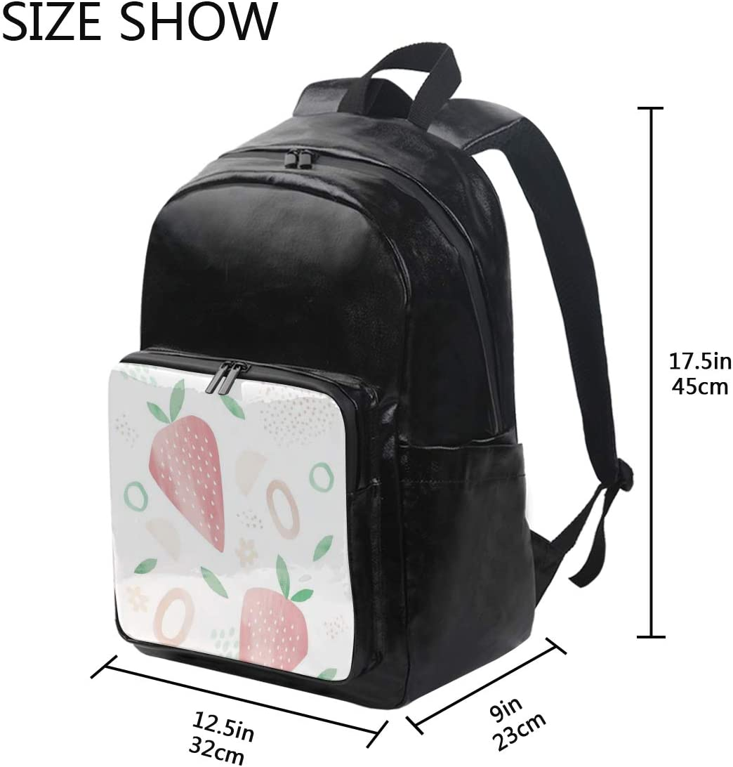 12.5x9x17.5 Holds 12.5-inch Laptop Strawberry Pattern Student Backpacks College School Book Bag Travel Hiking Camping Daypack for boy for Girl