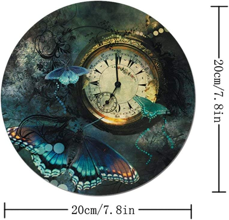 Round Mouse Pad Customized Cute Non-Slip Rubber Base Mouse Pad for Desktop Accessories Clock Butterflies