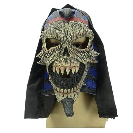 WHLMJ Máscara De Látex Halloween Carnival Egipcio Faraón Paño Negro Conjunto Máscara