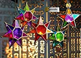 MOROCCAN STYLE STAR HANGING GLASS LANTERN (TEALIGHT HOLDER) - HOME & GARDEN (Large Purple/Pink) by SupremeBuy