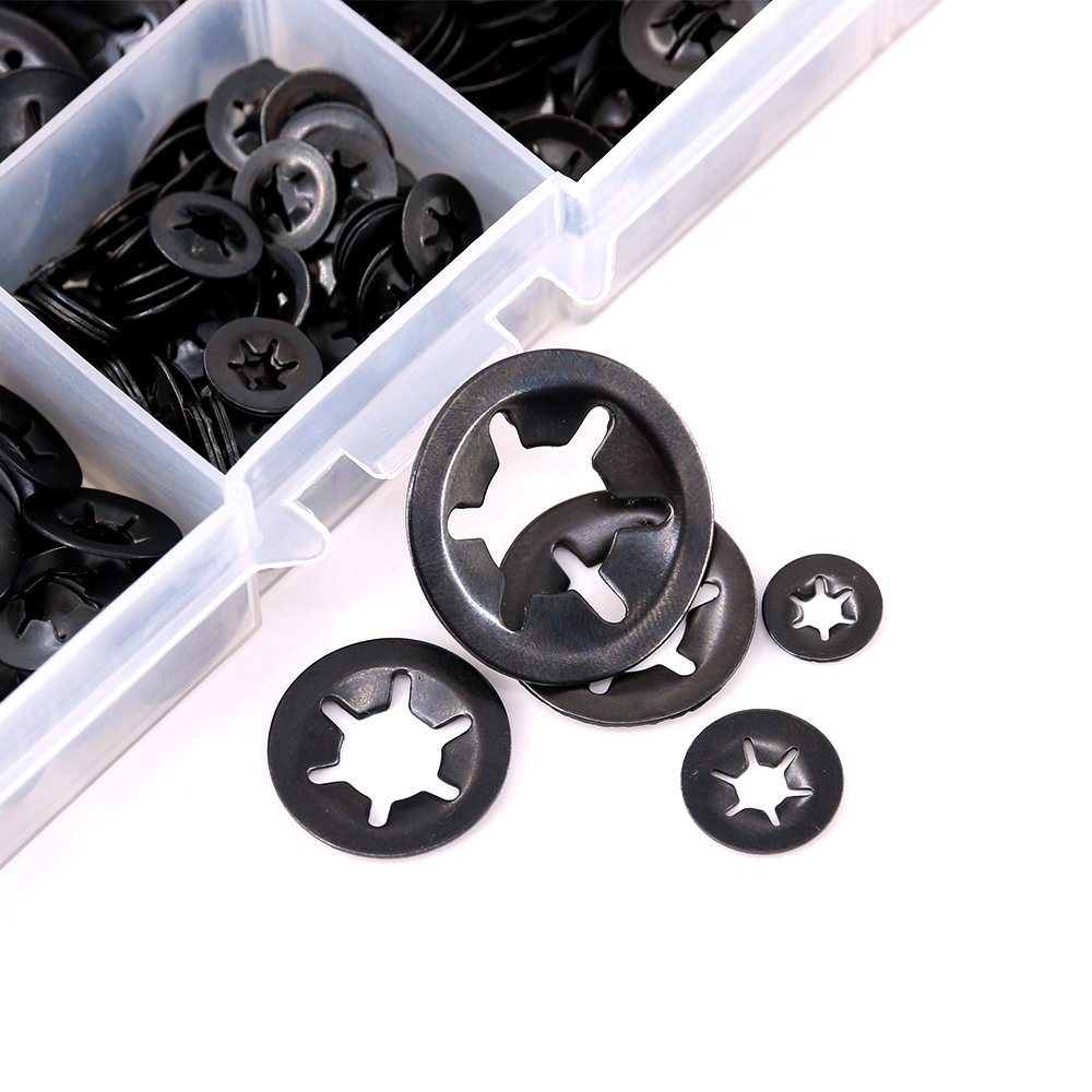 Black Oxide Finish 7-Size Internal Tooth Starlock Washers Quick Speed Locking Washers Push On Speed Clips Fasteners Assortment Kit 280 Piece Hilitchi