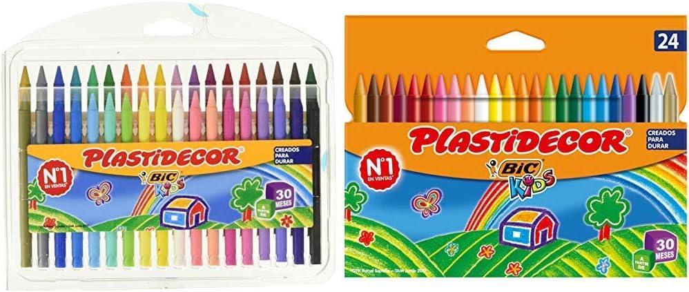 BIC Kids Plastidecor Estuche de 36 unidades, ceras de colores surtidos + Kids Plastidecor- Blíster de 24 unidades, ceras para colorear, colores surtidos: Amazon.es: Oficina y papelería