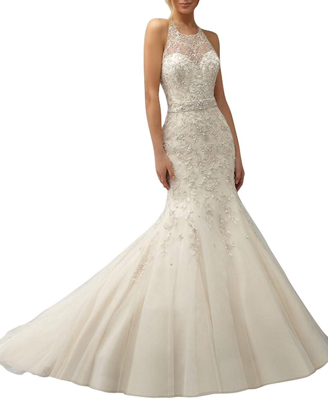 Dapene Women S Fashion Sheer Beaded Lace Mermaid Bridal Gown Wedding Dress