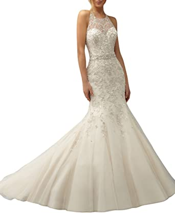 DAPENE Womens Fashion Sheer Beaded Lace Mermaid Bridal Gown Wedding Dress