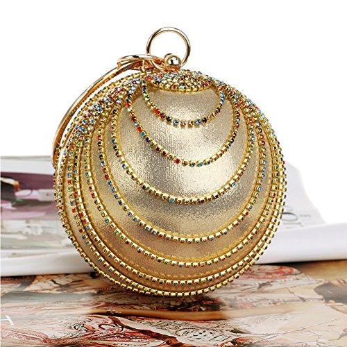 Wedding Women's Shape Party Gold2 Purse Crystal HandBags Evening Ball Flada Clutch 60qUSZ0