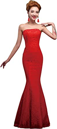 Amazon.com: vimans 2016 Long Red Sexy Strapless Mermaid