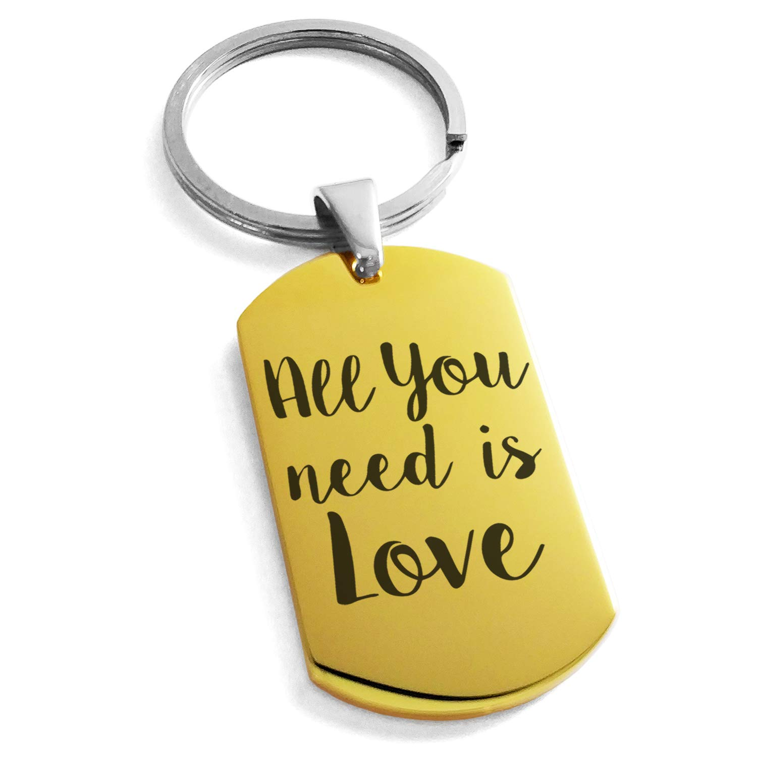 Tioneer Gold Plated Stainless Steel All You Need is Love Engraved Dog Tag Keychain Keyring