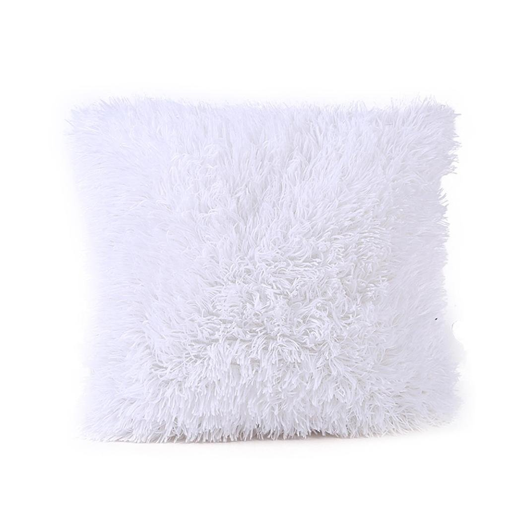 Plush Cushion Pillow Cover,Elaco Sofa Cushion Waist Throw Cushion Cover Home Decor Cushion Cover Case (White-B) by Elaco (Image #1)
