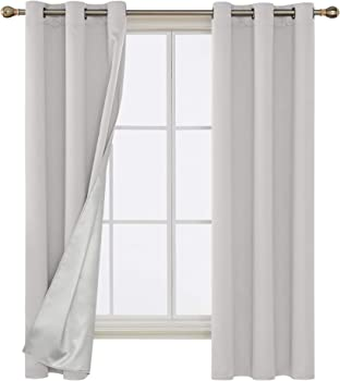 Deconovo Greyish 38W x 72L Inch White Blackout Grommet Curtains