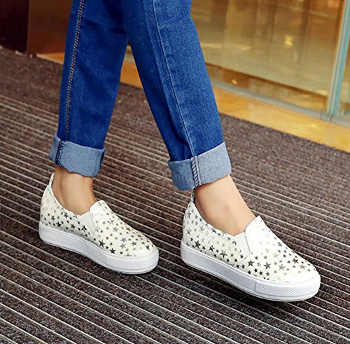 On Elastic Loafers Aisun Trendy White Slip Platform Stylish Womens Star T0xvTq