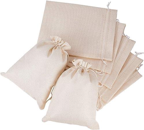 Imagen deBENECREAT 25 PCS Bolsas de Arpillera con Cordón Bolsa de Yute 23x17cm Color Crema Envase de Regalo de Dulce, Chocolate, Joya para Fiesta Boda Navidad