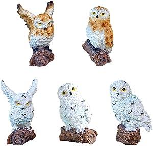 ANIUHL 5 Pieces Owls Fairy Garden Miniature Ornaments Mini Animals Resin Figurines for Moss Landscape Bonsai Crafts Home Decor