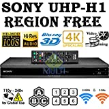 SONY UHP-H1 2K/4K Upscaling - 2D/3D - Wi-Fi 2.4/5.0 Ghz - Clear Audio - Multi System Region Free Blu Ray Disc DVD Player - PAL/NTSC - USB - 100-240V 50/60Hz Cames with 6 Feet Multi-System HDMI Cable