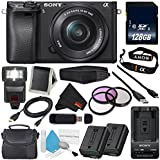 Sony Alpha a6300 Mirrorless Digital Camera with 16-50mm Lens (International Model) No Warranty + NP-FW50 Replacement Lithium Ion Battery + External Rapid Charger + 128GB Class 10 Memory Card Bundle