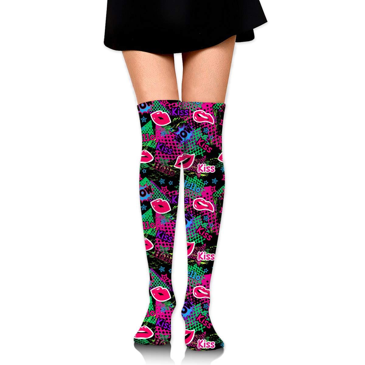 Womens//Girls Comic Graffiti Art Casual Socks Yoga Socks Over The Knee High Socks 23.6
