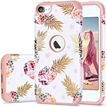 iPod 5 Case,iPod Touch 6 Case Pineapple,Fingic 2 in 1 Hybrid Slim Fit Case Hard PC&Soft Rubber Anti-Scratch Protective Case Cover for Apple iPod Touch 5/6th Generation,Flower Pineapple/Rose Gold
