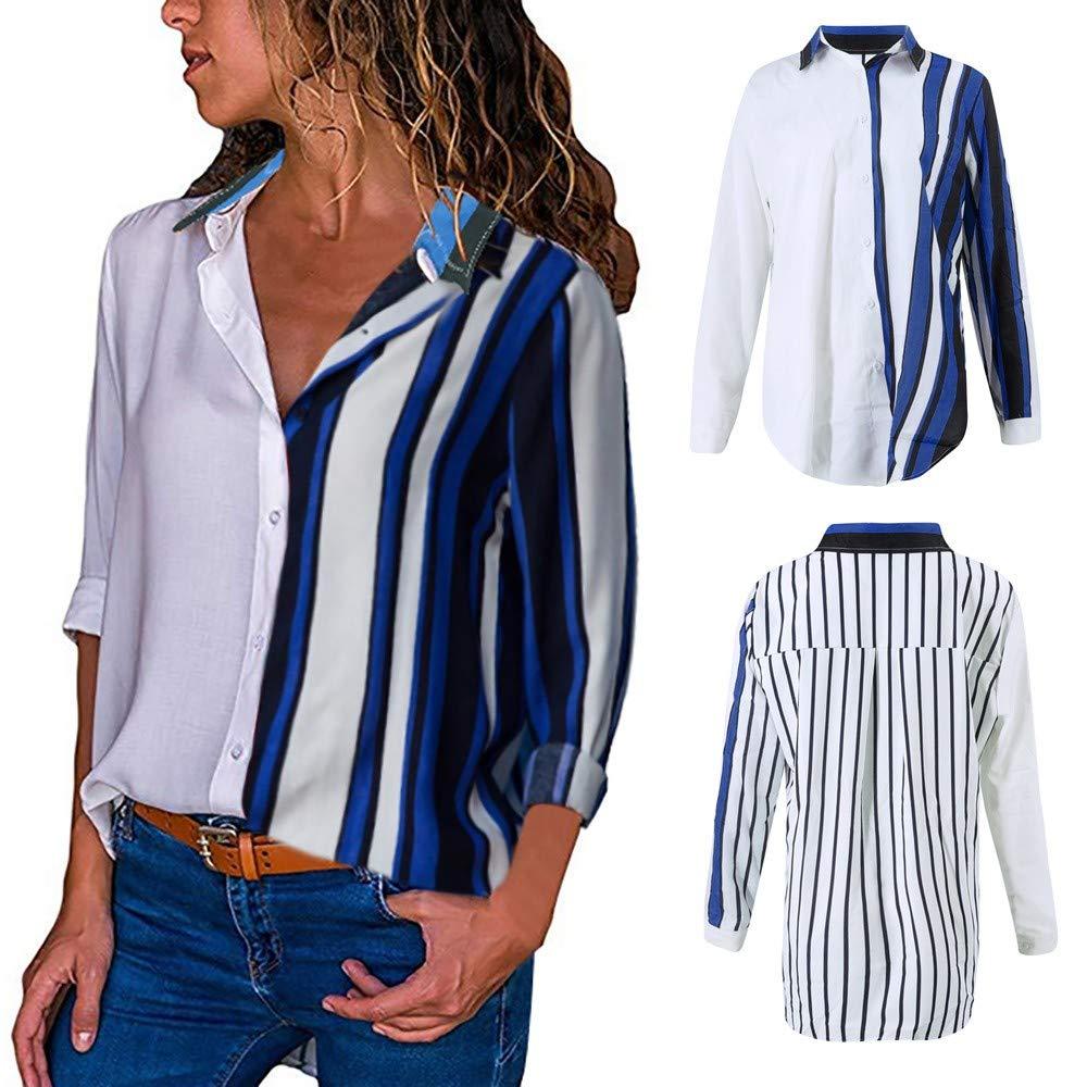 JiaMeng Camisas Mujer, Camisetas Mujer de Manga Larga de Blusa Casual de Manga Larga Color Block Stripe Button Camisetas Tops Blusa: Amazon.es: Ropa y ...