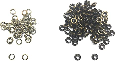 Amanaote 4.5mm Internal Hole Diameter Matte Black Eyelets Grommets with Washer Self Backing Pack of 200 Sets