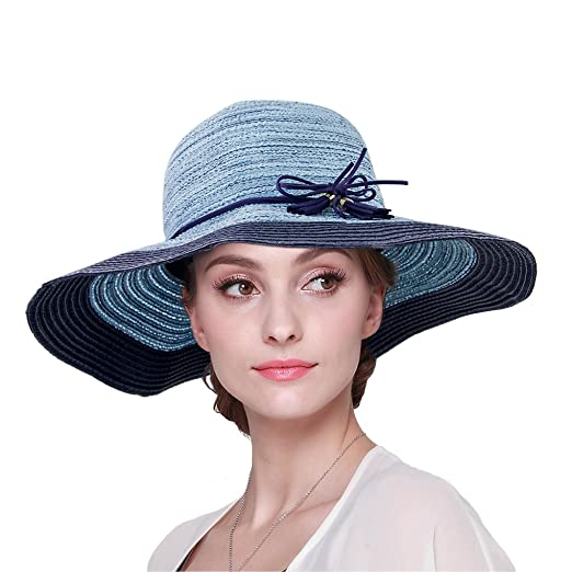 8c1319bad39 Image Unavailable. Image not available for. Color  JINTN Women Large Brim  Straw Hat Summer Sun Visor Beach Cap With Chin Cord