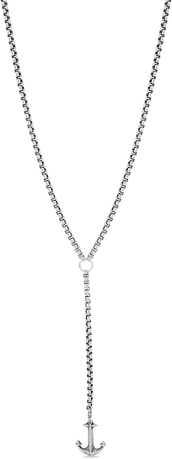 Steve Madden Men's Oxidized Anchor Charm Duo Y Style Chain Necklace for Men in Stainless Steel, Silver, 28