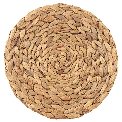 wellhouse Natural Handmade Straw Woven Placemat Wooden Round Braided Mat Heat Resistant Hot Insulation Anti-Skidding Pad Water Hyacinth Placemats (11.8Inch, Grass mat-1 Pack)