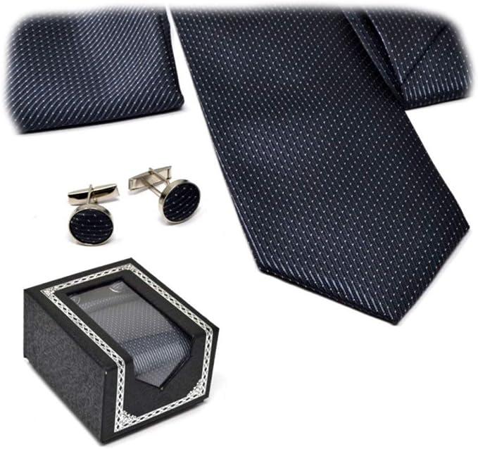 VENTURA TRADING Corbata de hombre, pañuelo y gemelos Moda conjunto ...