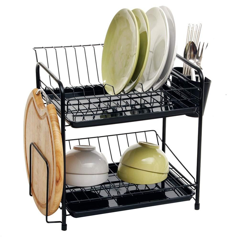 2-lagiger Abtropfgestell-Abfluss-Gestell-Lagerregal, Lagerung für Küche, schwarz Dauerhaft