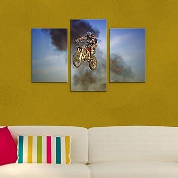 Amazon.com: Alonline Art Stuntman On Motorcycle Split 3 Panels ...