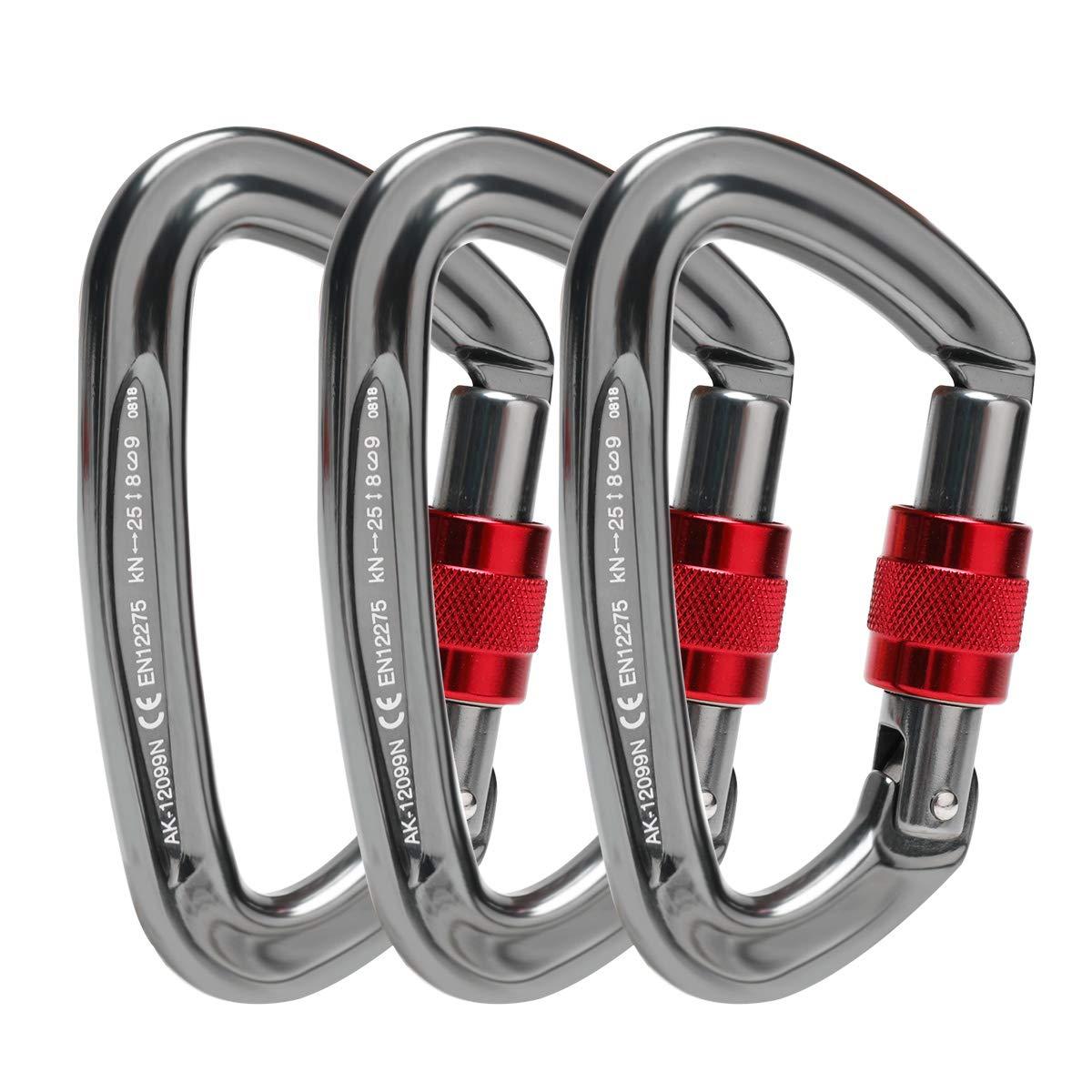 Locking Carabiner - 25kN 5600lb Climbing Carabiner Screw Gate D Shape Carabiner Silver (Pack of 3)