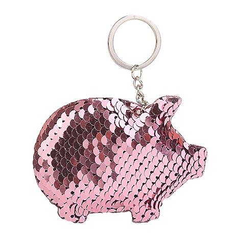 Outflower Llavero en Forma de Cerdo con Lentejuelas de Lentejuelas para Bonito Llavero de Anillo Espiral Llavero Colgante para Bolso de Decoracion o ...