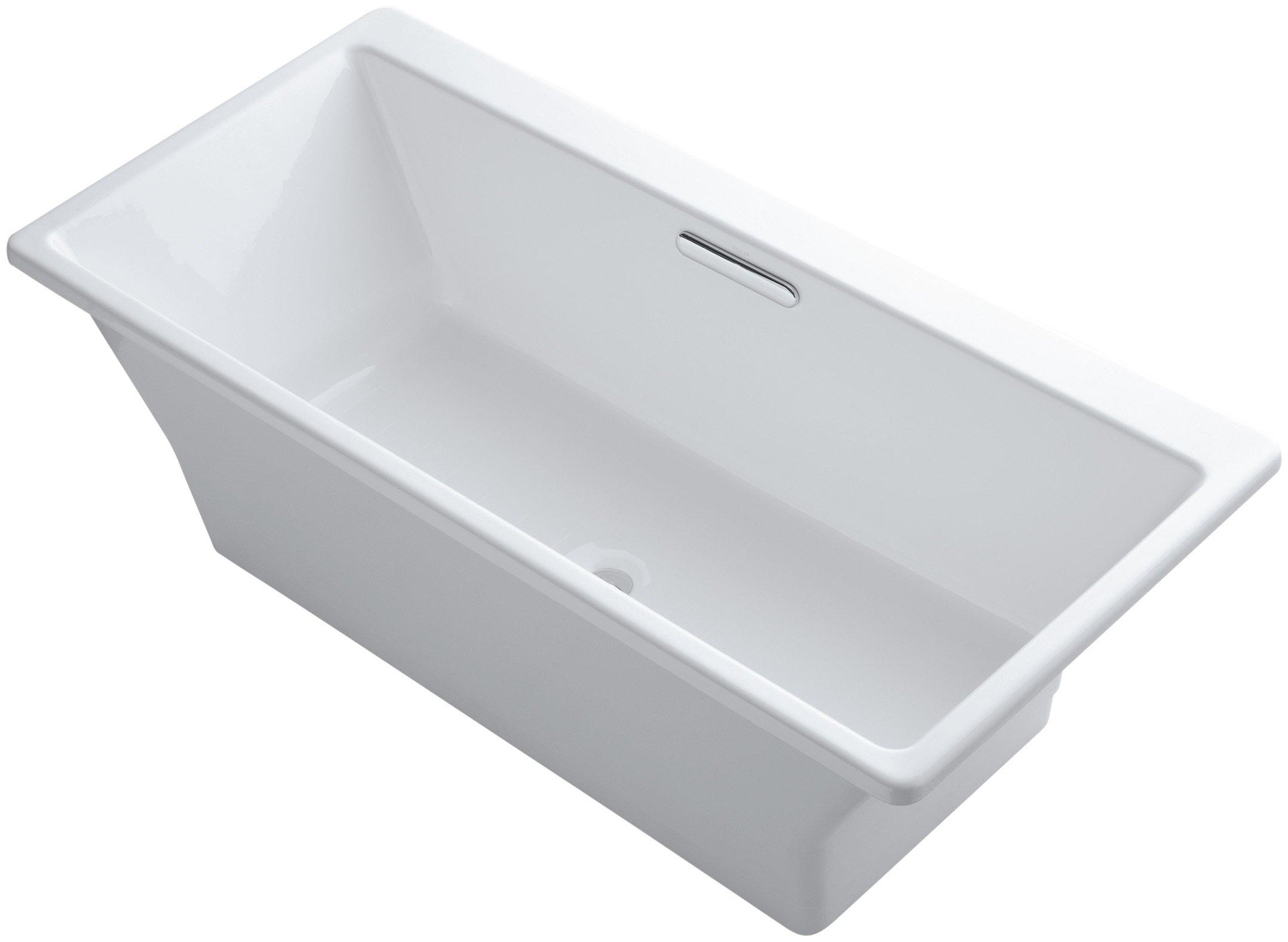 Kohler K-819-F62-0 Reve 5.5Ft Freestanding Bath with Brilliant Blanc Base, White by Kohler