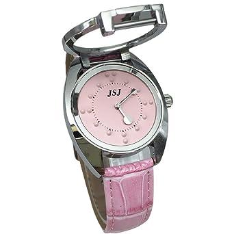 Reloj De Pulsera Braille para Invidentes o Personas Mayores Rosa Dial, Rosa Correa de Cuero: Amazon.es: Relojes