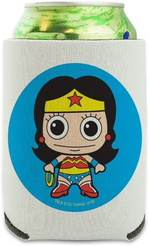 Wonder Woman Cute Chibi Can Cooler - Drink Sleeve Hugger Collapsible Insulator - Beverage Insulated Holder