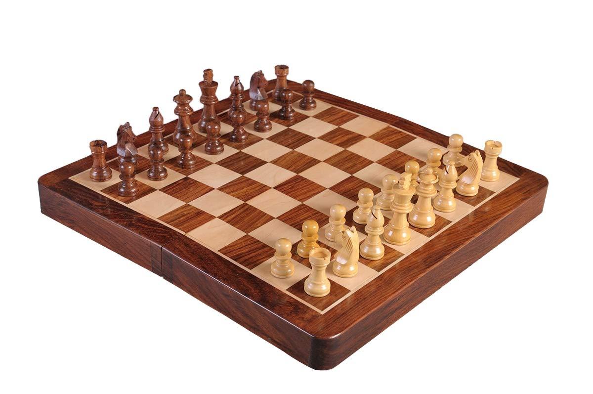 The House of Staunton Economy - Folding Wooden Magnetic Travel Chess Set - 12''