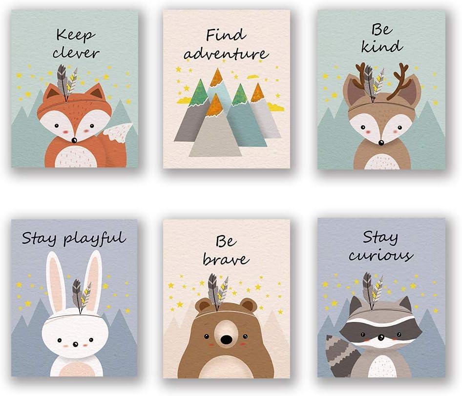 "6 Set- Woodland Animal Art Print, Safari Fox Rabbit Reindeer Bear Mountain Inspirational Quote Canvas Wall Print for Kids Bedroom Classroom (Unframed, 8""X10"")"