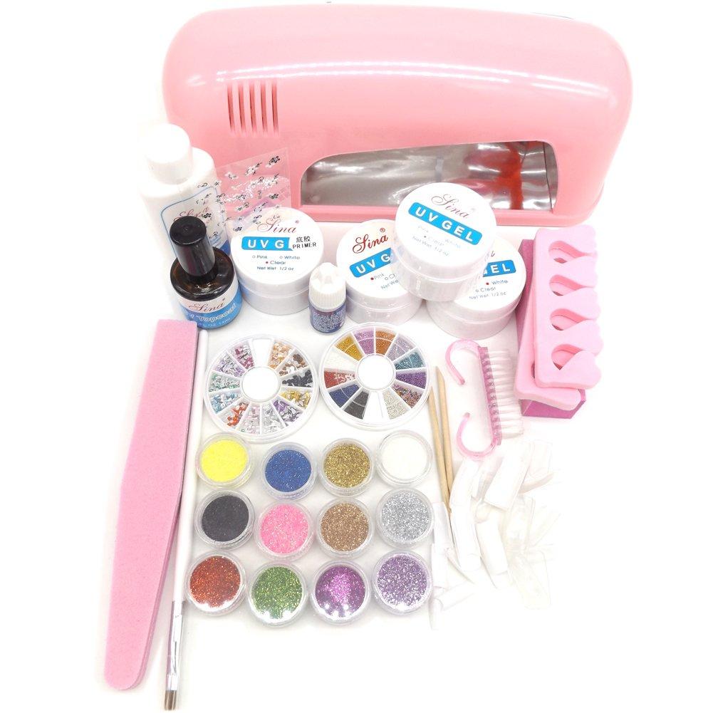 Warm Girl New 9W UV Dryer Lamp Glitter Nail File Decals False Nail Art Tips UV Gel Sets DIY Salon Kit by Warm Girl