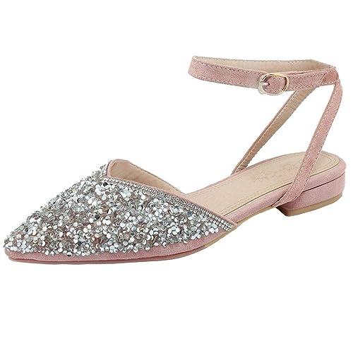 Coolulu Damen Flache Slingback Pumps mit Glitzer und Knöchelriemchen Sandalen Slingpumps Spitz Schuhe