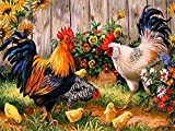 DIY 5D Diamond Painting by Number Kit, Full Drill Rooster Hen Chicks Embroidery Cross Stitch Arts Craft Canvas Wall Decor