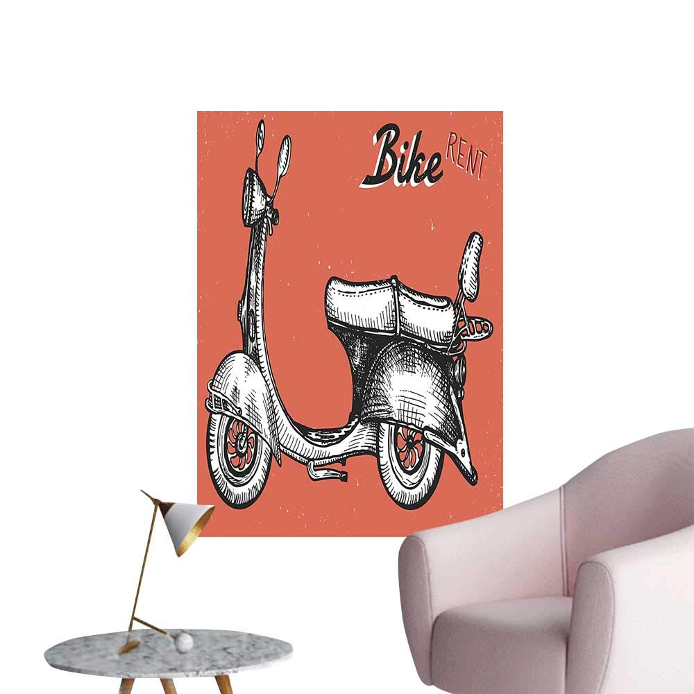 Vinyl Artwork Scooter Sign Bike Bicycle Classic Grunge Red Black White Easy to Peel Easy to Stick,16''W x 24''L by SeptSonne