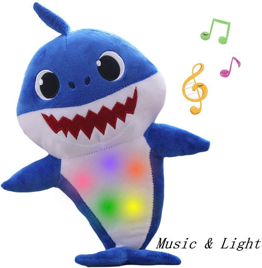 Chengbo-Baby Shark Official Singing Plush, Music Sound Baby Shark Plush Doll Soft Baby Cartoon Shark Stuffed & Plush Toys Singing English Song for Kids Gift Children Gir9(Blue)