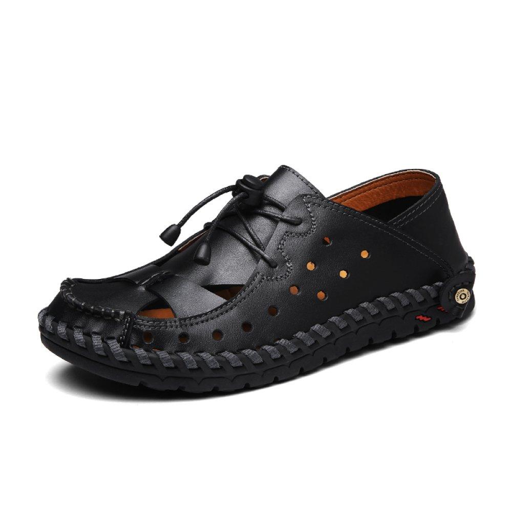 YXLONG Nuevas Sandalias De Cuero De Verano Masculinos Ocasionales Sandalias Baotou Hombres Transpirables Zapatos Sandalias Huecas Al Aire Libre De Los Hombres,Black-40 40|black