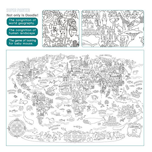 Low Cost Jar Melo Super PainterGiant Coloring Poster The World Doodle