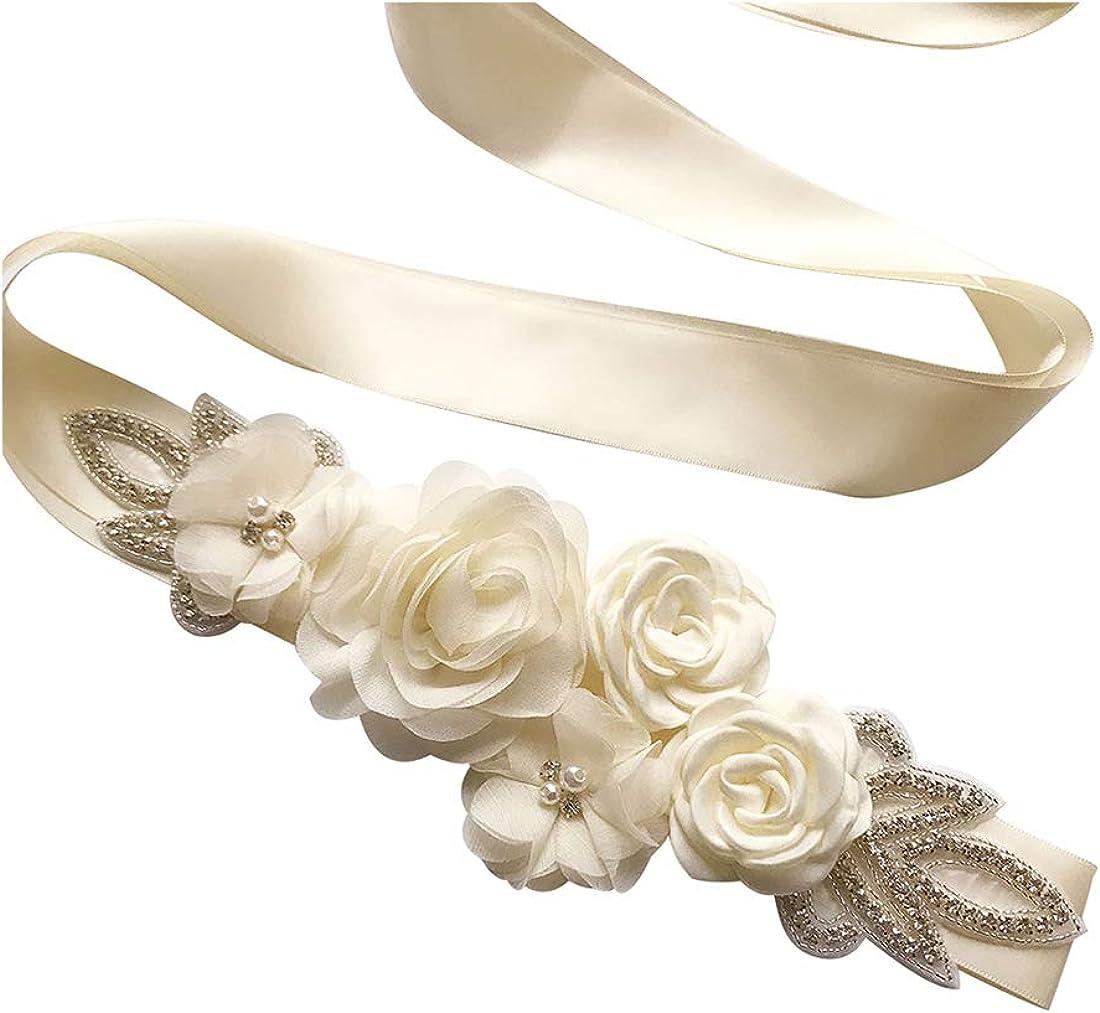 Spmor Women's Bridal Wedding Dress Rhinestone Sash Maternity Sash Belt Flower Baby Girl Sash Belt