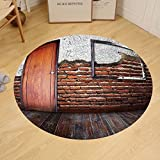 Gzhihine Custom round floor mat Antique Decor Picture Frame Put On A Damaged Brick in Aged Old Room Rustic Wooden Floor Bedroom Living Room Dorm Decor